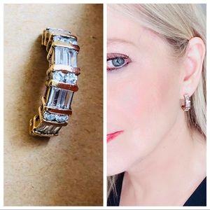 Swarovski crystal half loop earrings goldtone